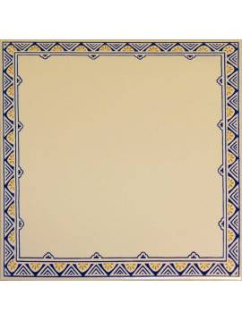 Faïence Talavera blanc Décor frise bleu orange 20x20 Grespania - Lot 1,20 m2