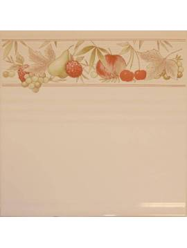 Faïence blanc 20X20 Décor liseret fruits - Paquet 1,20 m2
