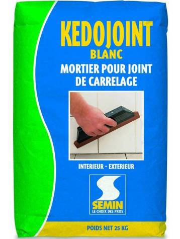 Mortier joint carrelage kedojoint blanc semin sac 25 kg for Reagreage exterieur