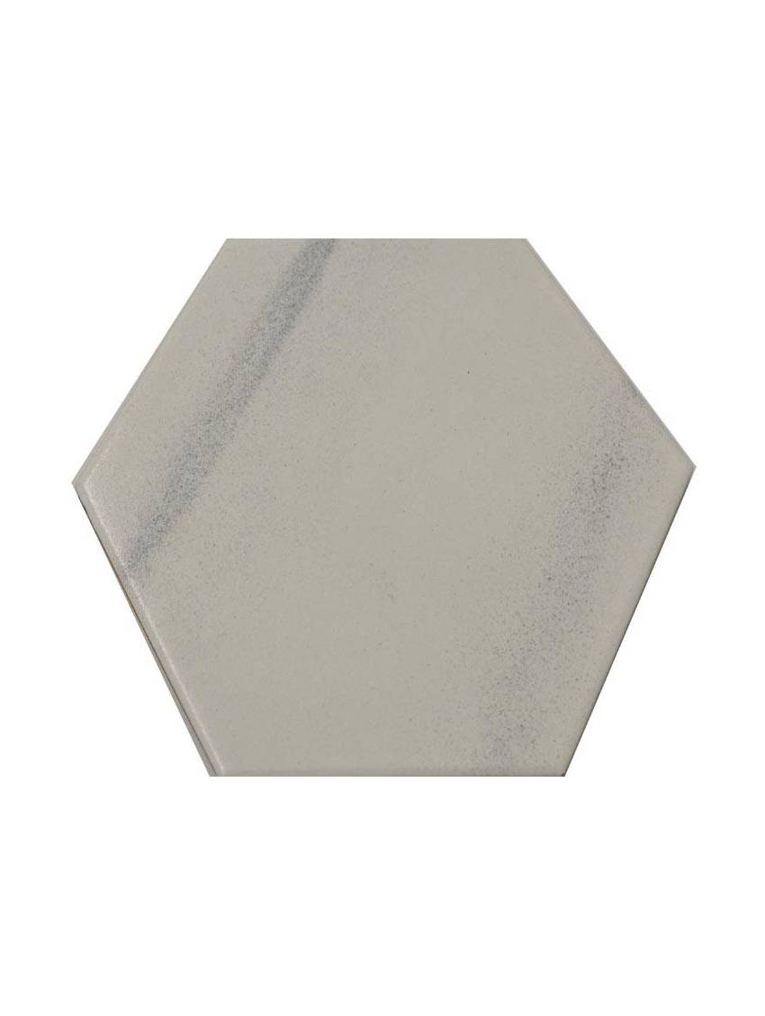 Carrelage hexagonal blanc gris 13 2x15 2 tomette la piece for Carrelage hexagonal blanc