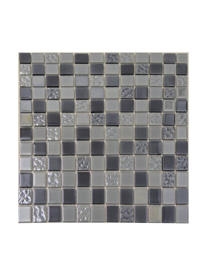 mosaique de verre noir gris argent 30x30 cm la plaque. Black Bedroom Furniture Sets. Home Design Ideas