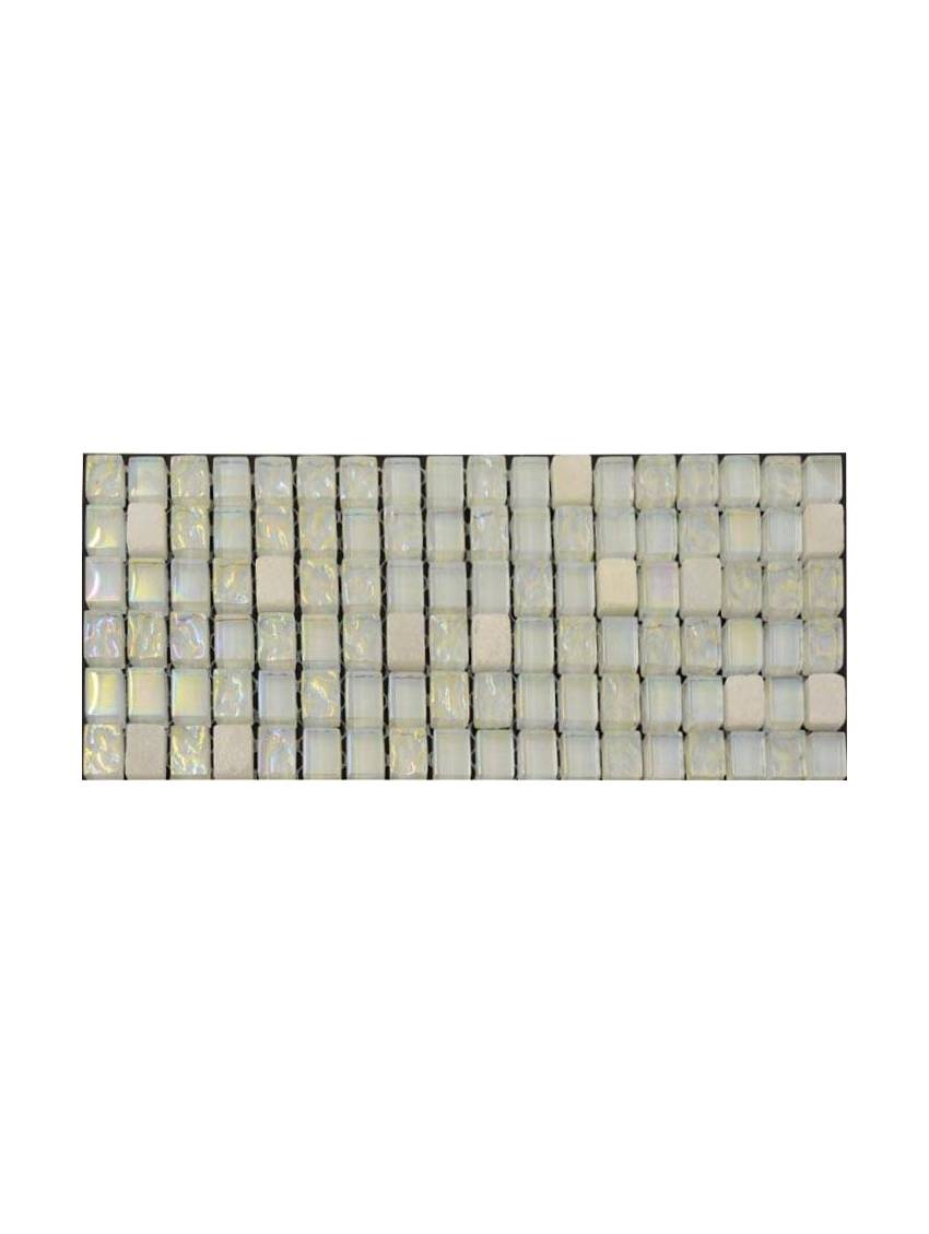 frise mosaique verre blanc nacre marbre 30x30 cm la plaque. Black Bedroom Furniture Sets. Home Design Ideas