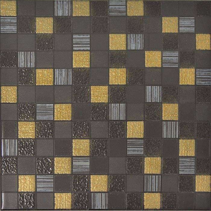 Decor Mosaique Noir Dore 20x20 Lot 9 Pieces