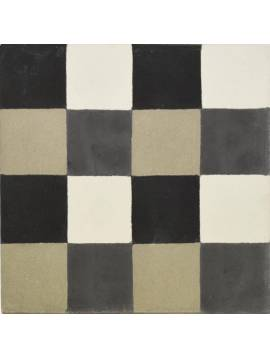 Carreau de ciment gris noir blanc 20x20 - Paquet 72 carreaux