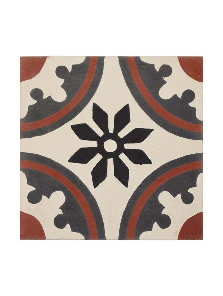 Carreau de ciment noir gris rouge 20x20 paquet 72 carreaux for Interieur paupiere inferieure rouge