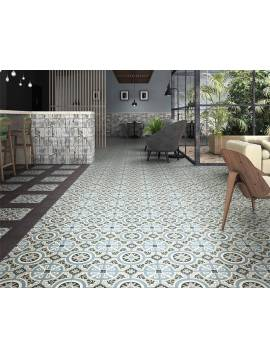 Carrelage Bleu Rosace imitation carreaux ciment 20x20 Mainzu Viena - Paquet 1 m2