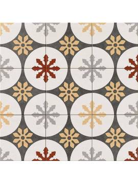 Carrelage gris jaune rouge Rosace imitation carreaux ciment 20x20 Mainzu Praga - Paquet 1 m2