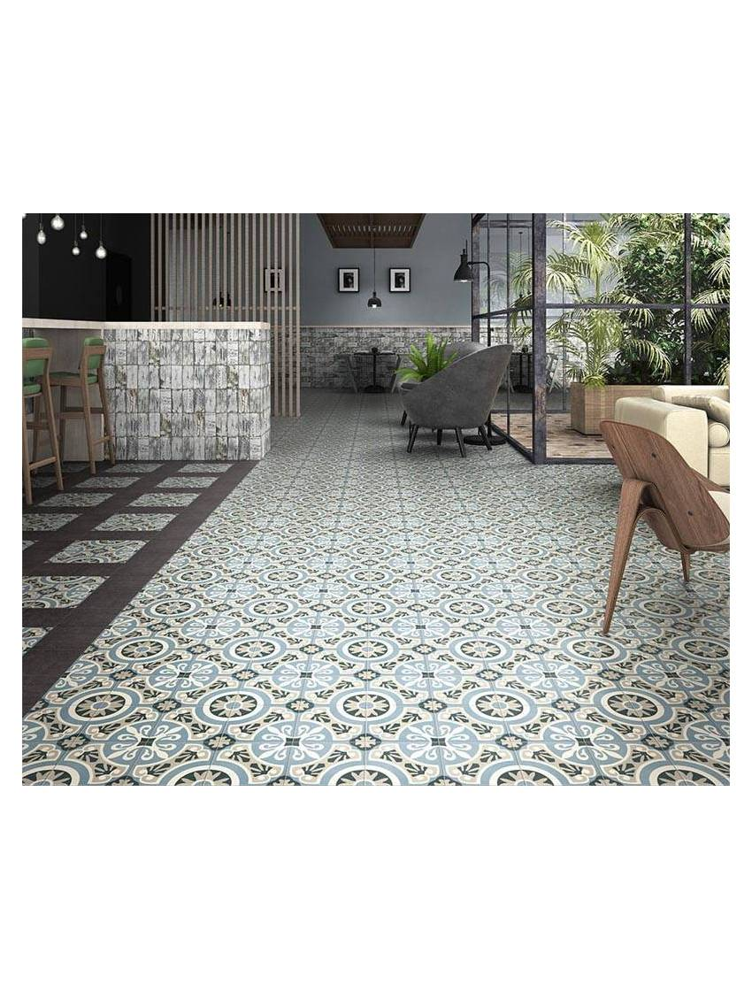 Carrelage Gres Cerame Imitation Ciment carrelage bleu rosace carreaux ciment 20x20 mainzu viena paquet 1 m2
